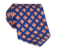 Silk Print Diamond Motif Tie in Navy