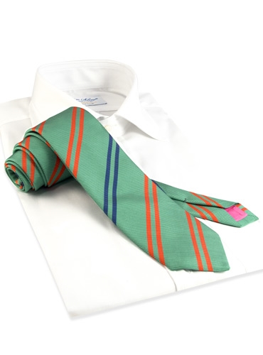 Mogador Silk Double Stripe Tie in Pistachio