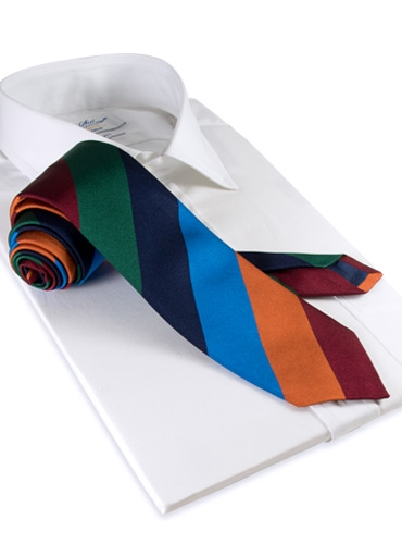 Silk Woven Block Stripe Tie in Amber, Azure, Navy, Leaf and Cranberry