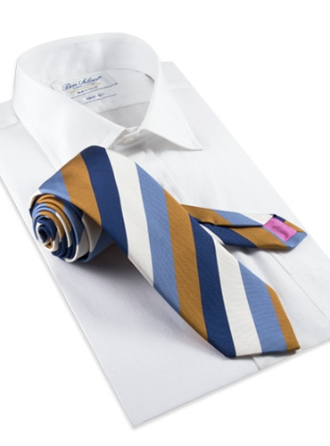 Mogador Stripe Tie in Copper and Cornflower