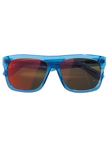 Large Rectangle Sunglasses in Transparent Blue