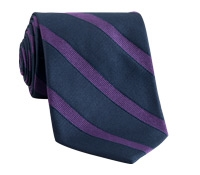 Silk Striped Tie in Navy with Purple