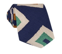 Silk and Linen Retro Diamond Tie in Navy