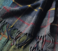 Navy and Grey Plaid Cashmere Scarf