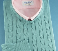 Cotton Cable Knit Crewneck Sweater in Seafoam
