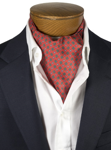 Silk Print Ascot with Diamond and Flower Motif in Red