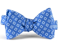 Silk Diamond Motif Bow Tie in Cobalt