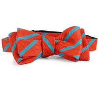 Silk Cotton Woven Stripe Bow Orange/Teal
