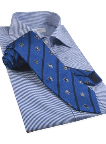 Silk Woven Club Tie in Devon Blue