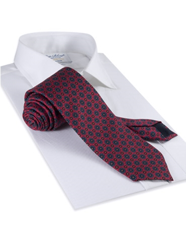 Silk Printed Madder Tie With Flower Motif in Ruby