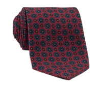 Silk Printed Madder Tie With Flower Motif in Ruby