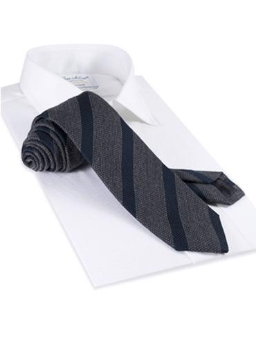 Wool and Silk Blend Grenadne Stripe Tie in Charcoal