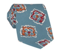 Silk Print Floral Tie in Steel Blue