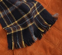 Cashmere Scarf Plaid Navy/Gold/Brown