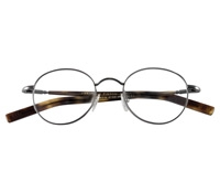 Nearly Round Wire Frame in Pewter with Wood Color Temples