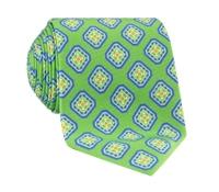 Silk Diamond Motif Printed Tie in Grass