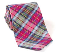 Woven Plaid Tie Pink, Green & Blue
