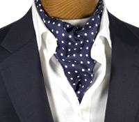 Silk Printed Polka Dots Ascot in Navy