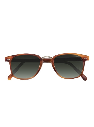 Semi-Square Sunglasses in Amber with Wire Bridge