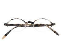 Semi-rimless Oval Frame in Cream Tortoise