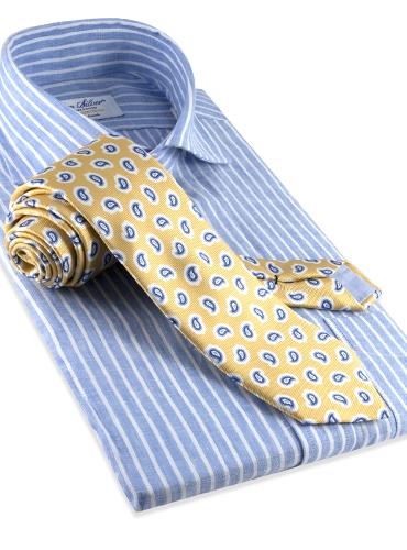 Silk Print Paisley Tie in Sun