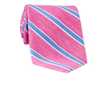 Silk and Linen Stripe Tie in Azalea