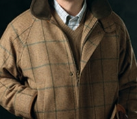 Wool Field Coat in Autumn with Windowpane