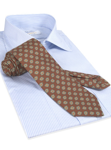 Diamond Printed Panama Silk Tie in Spice