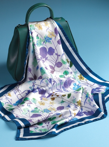 Silk Floral Scarf in Navy