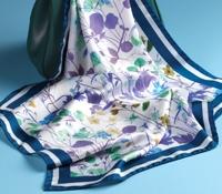 Silk Floral Scarf in Navy