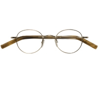 Nearly Round Wire Frames in Nickel Metallic Finish with Wood Color Temples