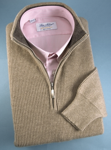 Cashmere Half Zip Sweater in Wheat