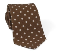 Linen Printed Dot Tie Brown