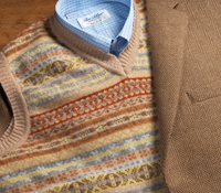 Lambswool Fair Isle Sweater Vest in Wheat
