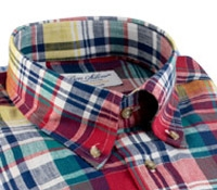 Fire, Regal Blue, and Butter Plaid Button Down in Linen