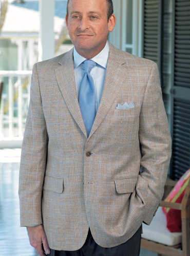 Taupe and Cream Glen Plaid Sport Coat with Sky Blue Windowpane