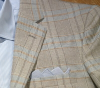 Cashmere Light Blue and Tan Plaid Jacket