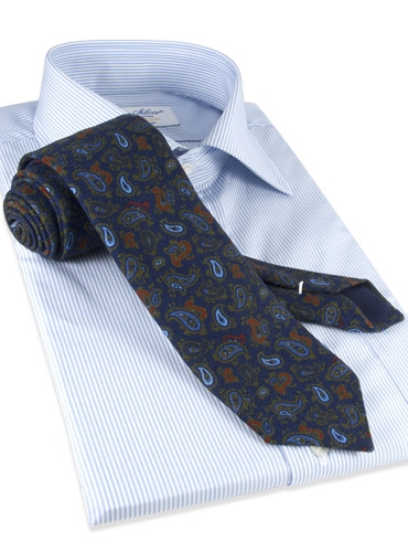 Wool Printed Paisley Tie in Navy