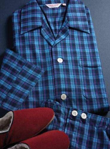 Blue and Navy Plaid Cotton Pajamas