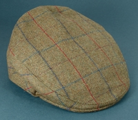 Wool Garforth Cap in Olive Herringbone with Windowpanes