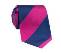 Silk Block Stripe Tie in Magenta and Denim