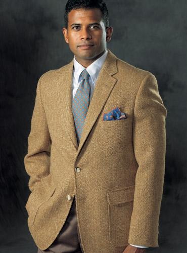 Cinnamon and Yellow Herringbone Harris Tweed Sport Coat