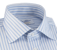 Light Blue & White Stripe Spread Collar