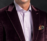 Wine Peak Lapel Velvet Jacket
