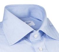 Sky, Navy and White Thin Stripe Spread Collar