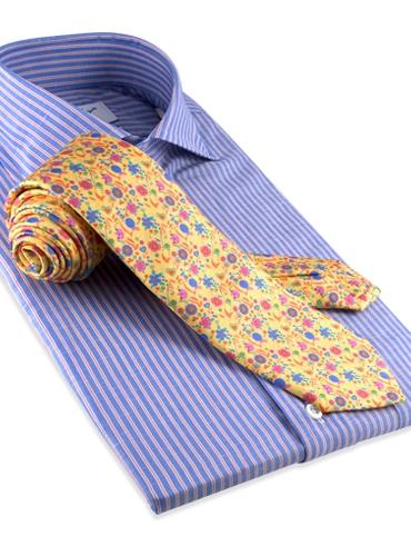 Silk Print Floral Tie in Sun