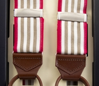 Oxford Triple Stripe Braces in Oyster with Red