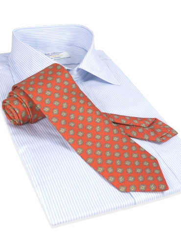 Diamond Printed Panama Silk Tie in Poppy