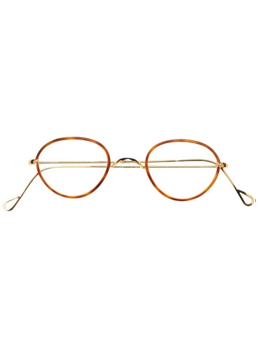 Wire Pantos Frame in Amber with Champagne Gold