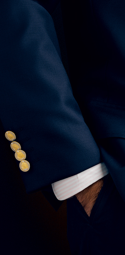 Closeup of blazer buttons